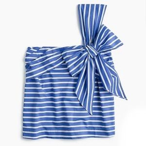 J. Crew One Shoulder Striped Bow Top Size 8 NWT